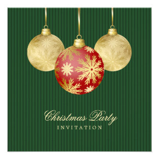 Invitation rouge de partie d or de boules de Noël