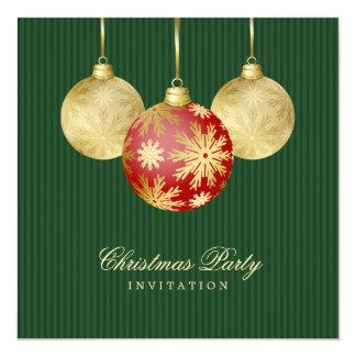 Invitation rouge de partie d'or de boules de Noël