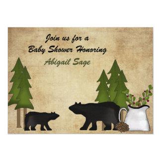 Invitation rustique de baby shower d'ours de