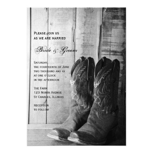 Invitation rustique de mariage campagnard de botte