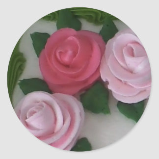 Invitation sticker - pink frosting roses on a cake