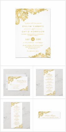 Invitation Suite: Elegant Gold Lace Pattern