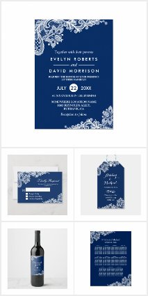 Invitation Suite: Elegant Navy Blue White Lace