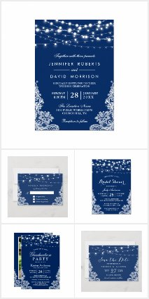 Invitation Suite: Navy Blue String Lights Lace