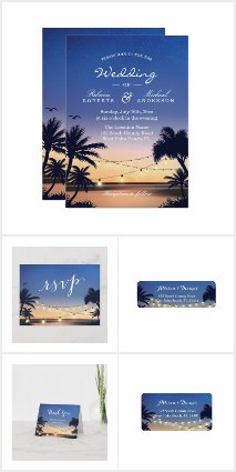 Invitation Suite: Romantic Sunset Palm Trees Beach