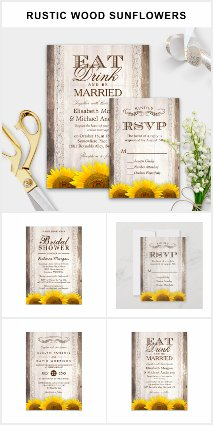 Invitation Suite: Rustic Barn Wood Sunflowers