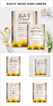 Invitation Suite: Rustic Barn Wood Sunflowers