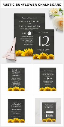 Invitation Suite: Rustic Sunflowers Chalkboard