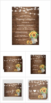 Invitation Suite: Rustic Sunflowers Mason Jar