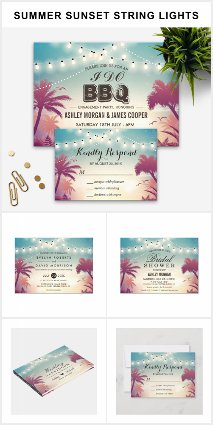 Invitation Suite: Summer Sunset String Lights Palm