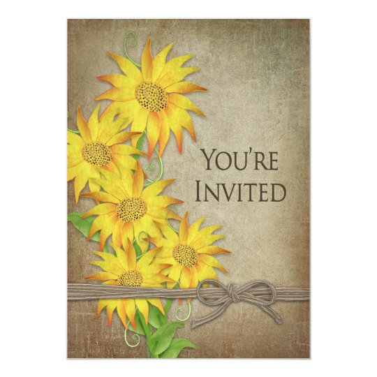 INVITATION - SUNFLOWERS - BROWN TEXTURED