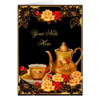 Invitation Thank You Card Elegant Black Gold Roses