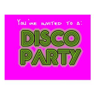 Invitation to a disco party postcard