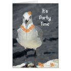 Invitation to a Party with Seagull & Flowers