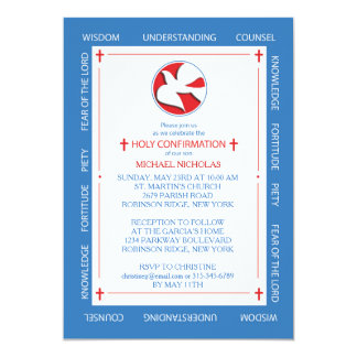 Invitation to Confirmation Spirit Gifts Border on