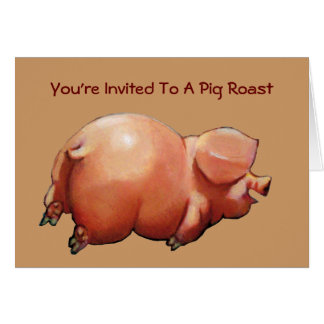Invitation To Pig Roast: Painting Of Happy Pig