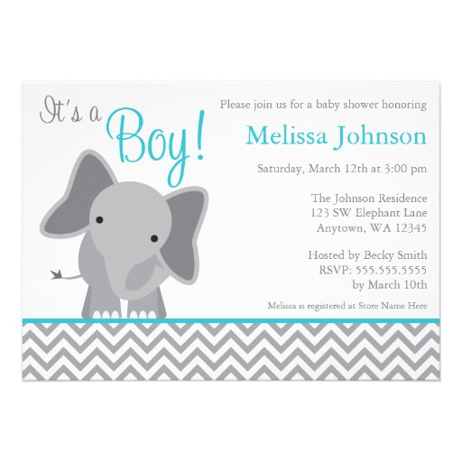 Invitation turquoise de baby shower de Chevron d'é