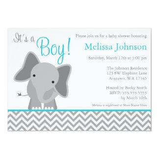 Invitation turquoise de baby shower de Chevron Carton D'invitation 12,7 Cm X 17,78 Cm