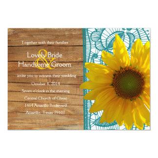 Invitation turquoise de mariage de dentelle de carton d'invitation  12,7 cm x 17,78 cm