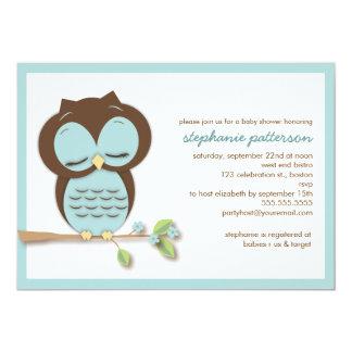 Invitation turquoise somnolente douce de baby carton d'invitation  12,7 cm x 17,78 cm