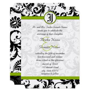 Invitation unique noire vert pomme de mariage