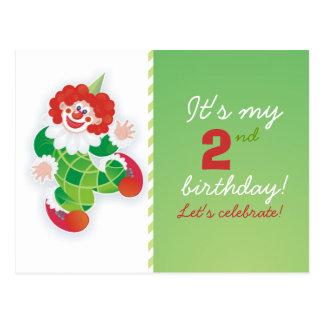invitation verte drôle d'anniversaire de clown carte postale