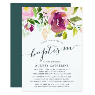 Invitation vibrante de baptême de la fleur  
