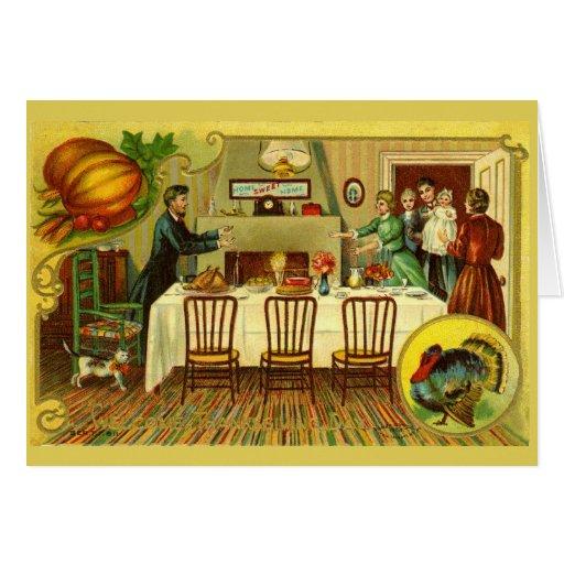 Invitation vintage/carte de dîner de thanksgiving
