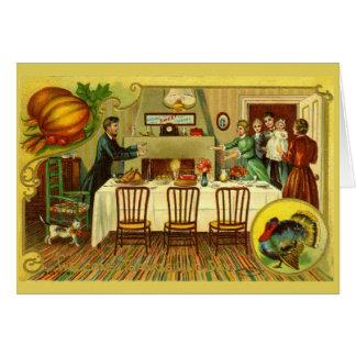 Invitation vintage/carte de dîner de thanksgiving carte de vœux
