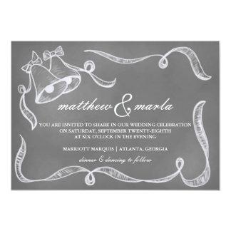Invitation vintage de Bells de mariage de tableau