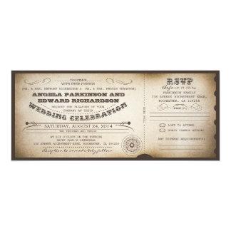invitation vintage de billet de mariage avec la carton d'invitation  10,16 cm x 23,49 cm