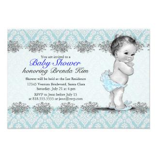 Invitation vintage de bleu de baby shower