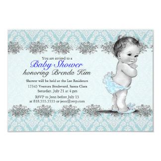 Invitation vintage de bleu de baby shower carton d'invitation 8,89 cm x 12,70 cm