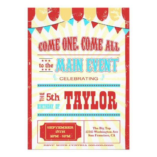 Invitation vintage de fête d'anniversaire de typog