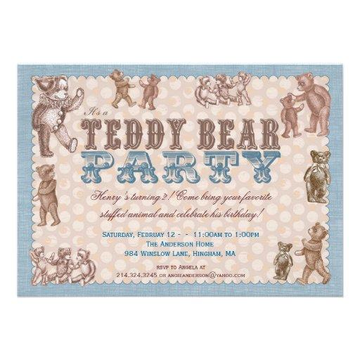 Invitation vintage de partie d'ours de nounours de