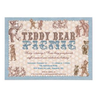 Invitation vintage de pique-nique d'ours de carton d'invitation  12,7 cm x 17,78 cm