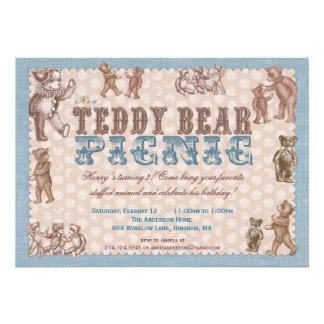 Invitation vintage de pique-nique d'ours de nounou