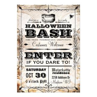 Invitation vintage éffrayante de partie de Hallowe