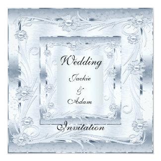 Invitation Wedding Engagement Silver Blue Art Deco