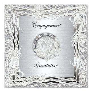 Invitation Wedding Engagement Silver Floral Frame