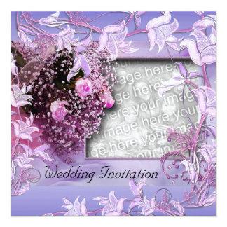 Invitation Wedding Purple Photo Floral Frame