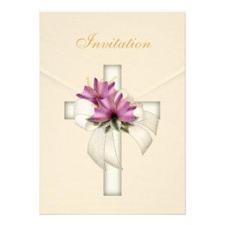 Invitation Wedding Religious Cross Elegant Cream Announcement