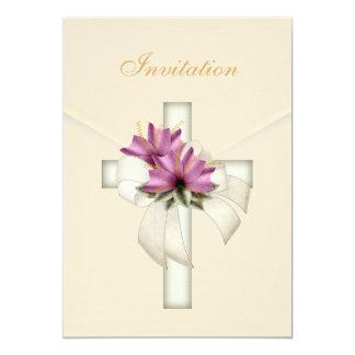 """Invitation Wedding Religious Cross Elegant Cream 5"""" X 7"""" Invitation Card"""