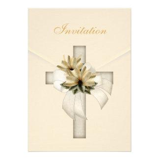 Invitation Wedding Religious Cross Elegant Cream Custom Announcement