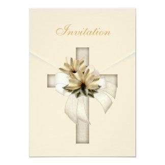 Invitation Wedding Religious Cross Elegant Cream