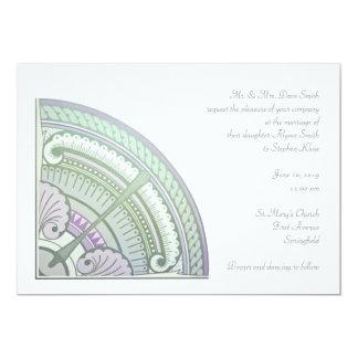 Invitation with art nouveau design in lilac & mint