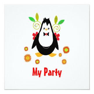 """invitation with penguin party 5.25"""" square invitation card"""