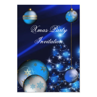 Invitation Xmas Christmas Party Blue Balls Xmas