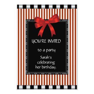Invitations & Announcements Black Red White Stripe