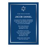 Invitations argentées bleues de Mitzvah de barre